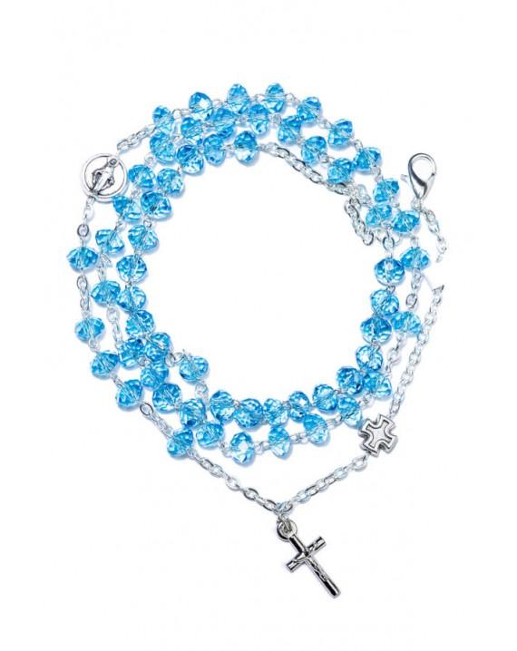 Sky Blue Crystal Rosary long Bracelet