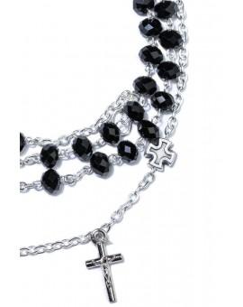 Black Faceted Crystal Rosary long Bracelet