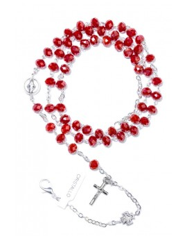 Red Faceted Crystal Rosary long Bracelet