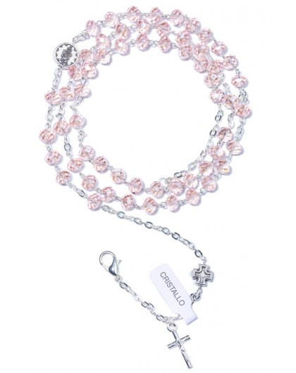 Pink Crystal Rosary long Bracelet