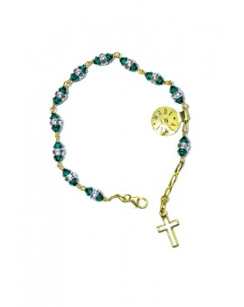 Deep green strass gold Rosary Bracelet