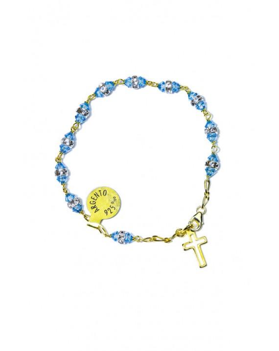 Sky blu strass gold Rosary Bracelet