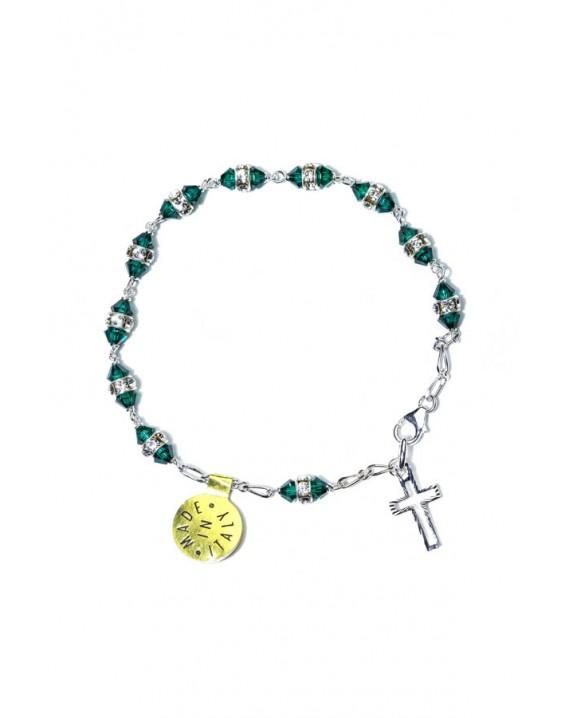 Deep green strass Rosary Bracelet