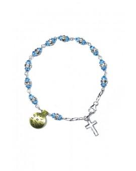 Sky blu strass silver Rosary Bracelet