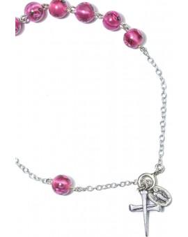 Pink Murano glass Beads Rosary bracelet
