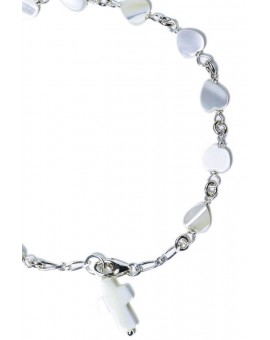 Hearth mother of pearl Rosary bracelet