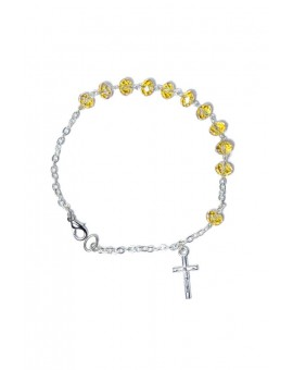 Yellow Crystal Rosary Bracelet 5mm beads