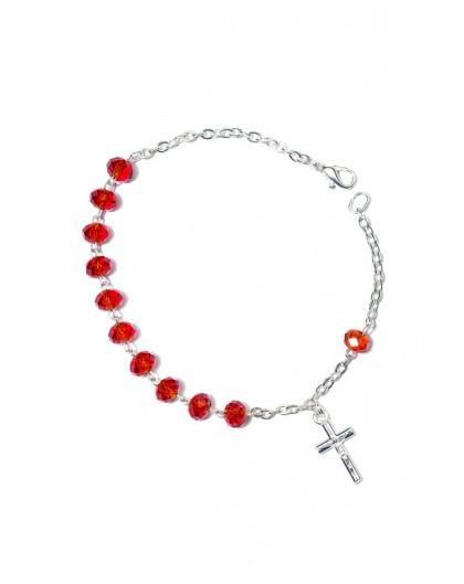 Red Crystal Rosary Bracelet