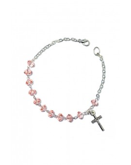 Pink Crystal Rosary Bracelet