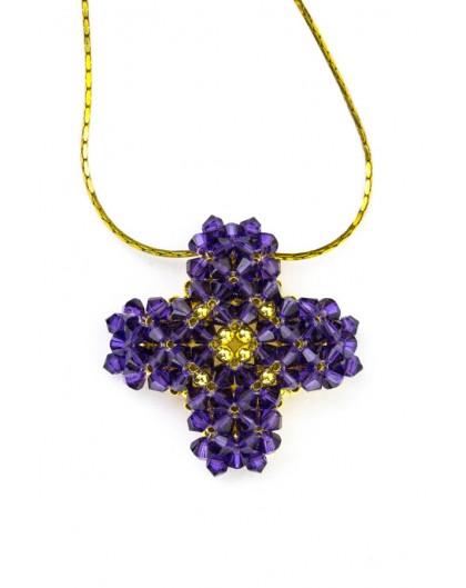 Swarovski Violet and gold Cross necklace