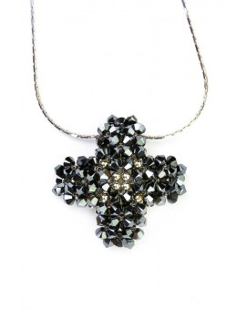 Swarovski Black and Silver Cross necklace