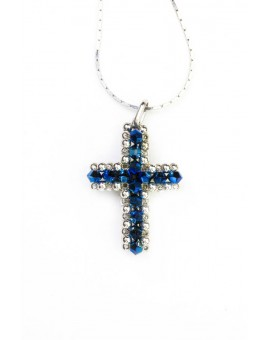 Swarovski Blue and White Cross necklace small