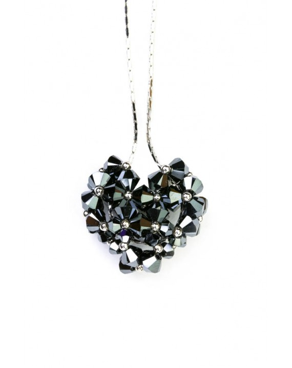 Swarovski Black Crystal and silver Heart necklace