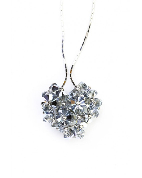 Swarovski Gray Crystals and silver Heart necklace