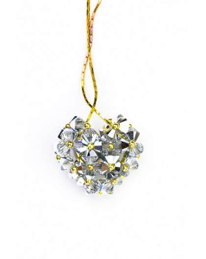 Swarovski Gray Crystals and Gold Heart necklace