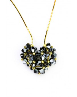 Swarovski Black  Crystals and Gold Heart necklace