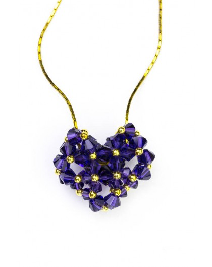 Swarovski Violet Crystals and Gold Heart necklace