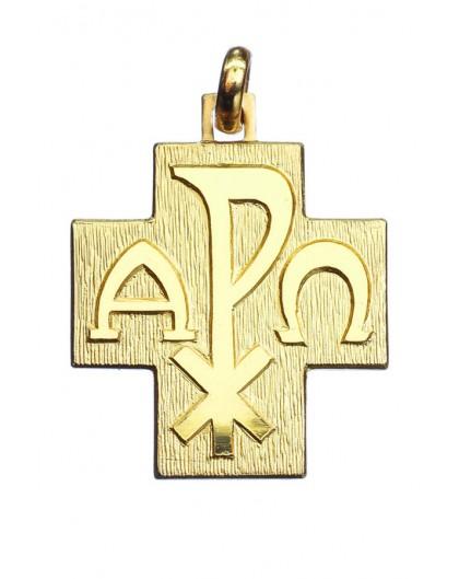 Alpha Omega Cross Pendant Gold plated