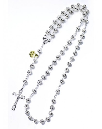 All silver Strass Rosary 8mm beads