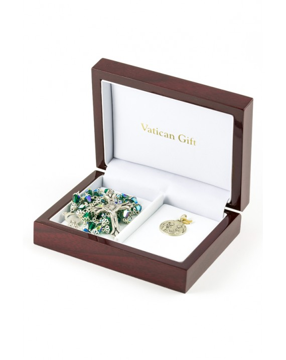 Green Crystal drop and Silver Christmas Gift