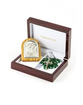 Green Agata and Silver Icon Christmas Gift
