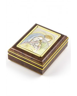 Rosary Box With Silver Holy Family