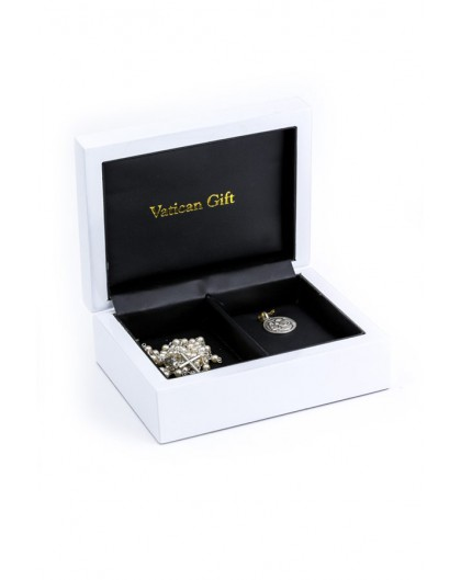 Baptism Gift 03 Precious White Wooden Box - Mini Glass Pearls