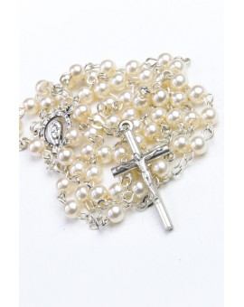 Baptism Gift 04 Precious White Wooden Box - Mini Glass Pearls