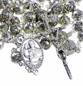 pope francis metal rose rosary